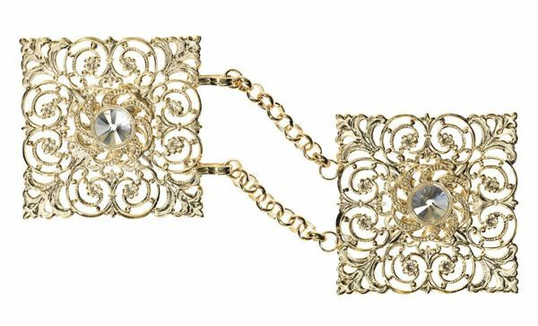 Picture of Square Cope Clasp gold with chain and Swarowski Brass Gold for Cope Pluviale Surplice Cloak and liturgical Vestments