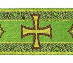 Picture of Byzantine Galloon metal thread Cross H. cm 9 (3,5 inch) Polyester and Acetate Fabric Red Olive Green Violet Yellow White Yellow Trim Orphrey Banding for liturgical Vestments