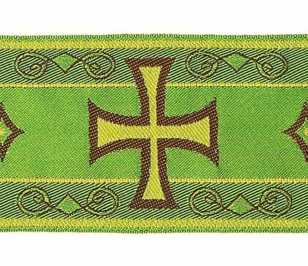 Imagen de Galón Bizantino hilo metálico Cruz H. cm 9 (3,5 inch) Tejido Poliéster Acetato Rojo Verde Oliva Morado Amarillo Blanco/Amarillo para Vestiduras litúrgicas