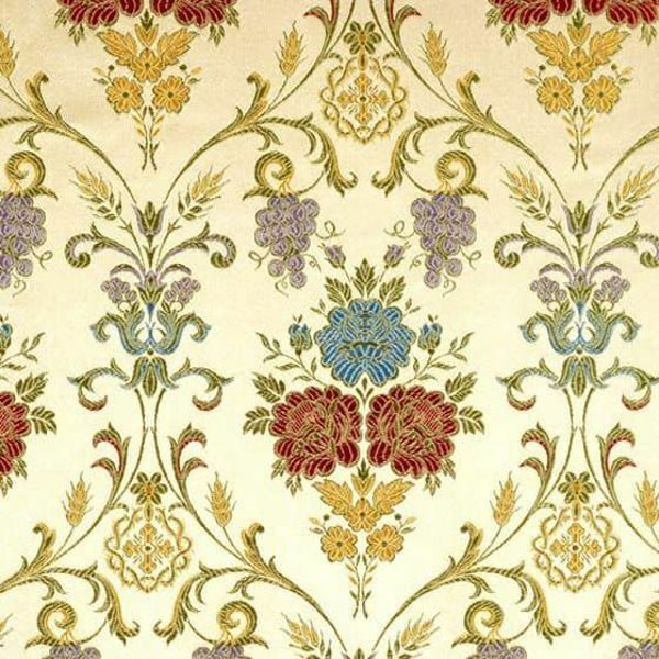 Picture of Floral Lampas (Lampasso) with Cross H. cm 160 (63 inch) Acetate Viscose Fabric Antique Ivory Colorful Flowers for liturgical Vestments