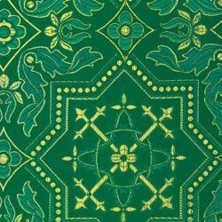 Picture of Byzantine Lampas (Lampasso) geometric H. cm 160 (63 inch) Polyester Acetate Fabric Red Yellow Gold Violet Green Flag White for liturgical Vestments