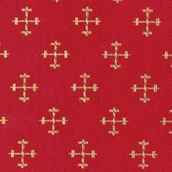 Picture of Broderie Embroidery Fabric Small Crosses H. cm 160 (63 inch) Acetate Polyester Embroidery Red Olive Green Yellow Gold Violet Milk White for liturgical Vestments