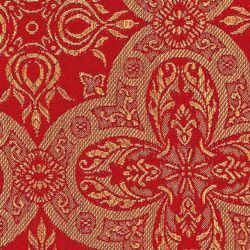 Picture of Classic Byzantine Broderie Embroidery Fabric H. cm 160 (63 inch) Acetate Polyester Embroidery Red Olive Green Yellow Gold Violet Milk White for liturgical Vestments