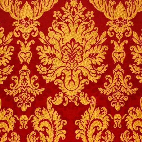 f1adcad642 Broccato San Satiro grande H. cm 160 (63 inch) Poliestere Acetato Rosso  Giallo Oro Viola Bianco Tessuto per Paramenti liturgici