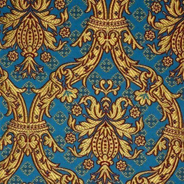 Imagen de Brocado Real oro H. cm 160 (63 inch) Tejido Poliéster Acetato Rojo Celestial Oro Amarillo Morado Verde Bandera para Vestiduras litúrgicas