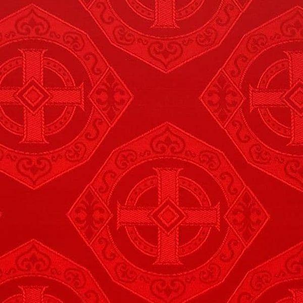 5c563aabb7 Damasco ottagono H. cm 160 (63 inch) Acetato Rosso Verde Viola Avorio  Tessuto per Paramenti liturgici