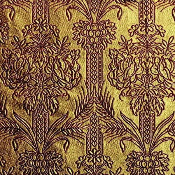 Picture of Floral Drape golden thread H. cm 160 (63 inch) Metallic thread Fabric for liturgical Vestments