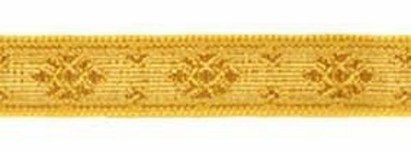 Immagine di Gallone Filo oro H. cm 1,5 (0,6 inch) misto Cotone Giallo Tessuto per Paramenti liturgici