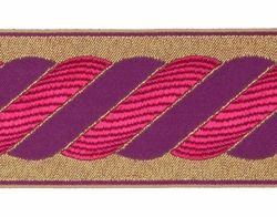 Picture of Galloon Golden Thread Column H. cm 9 (3,5 inch) Polyester and Acetate Fabric Red Avana Violet Trim Orphrey Banding for liturgical Vestments