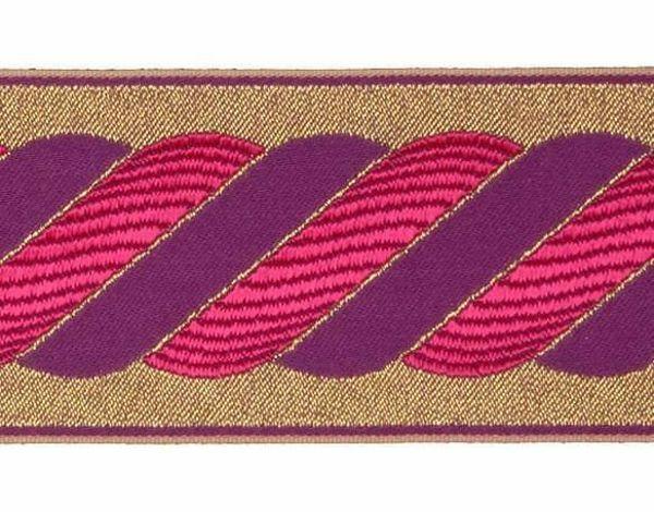 Imagen de Galón Hilo dorado Columna H. cm 9 (3,5 inch) Tejido Poliéster Acetato Rojo Avana Morado para Vestiduras litúrgicas