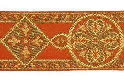 Imagen de Galón Bizantino Hilo dorado H. cm 9 (3,5 inch) Tejido Poliéster Acetato Rojo Celestial Verde Oliva Avana Marrón Morado Amarillo para Vestiduras litúrgicas