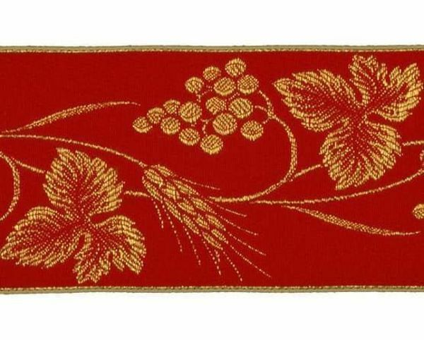 Picture of Galloon Golden Thread Eears of Corn and Grapes H. cm 9 (3,5 inch) Polyester and Acetate Fabric Red Avana Violet Beige Dark Green Trim Orphrey Banding for liturgical Vestments