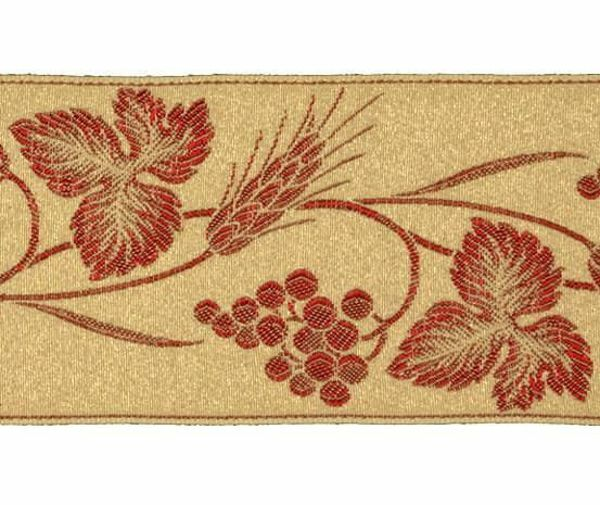 Picture of Galloon Golden Thread Eears of Corn and Grapes H. cm 9 (3,5 inch) Polyester and Acetate Fabric Trim Orphrey Banding for liturgical Vestments