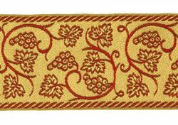 Picture of Galloon Golden Thread Grapes H. cm 9 (3,5 inch) Cotton blend Fabric Trim Orphrey Banding for liturgical Vestments