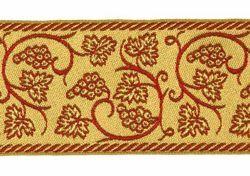 Immagine di Gallone Filo oro Tralci d' Uva H. cm 9 (3,5 inch) misto Cotone Tessuto per Paramenti liturgici