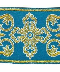 Immagine di Gallone Filo oro Croce Ortodossa cornice H. cm 9 (3,5 inch) Poliestere Acetato Rosso Celeste Verde Viola Tessuto per Paramenti liturgici