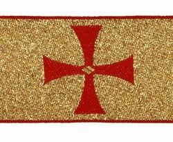 Picture of Galloon Gold frisette H. cm 8 (3,1 inch) Polyester Fabric Red Olive Green Avana Violet Trim Orphrey Banding for liturgical Vestments