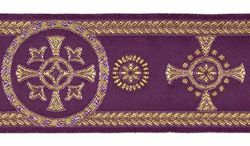 Picture of Galloon Golden Thread Palm Trees H. cm 9 (3,5 inch) Polyester and Acetate Fabric Red Celestial Olive Green Violet Yellow Black Trim Orphrey Banding for liturgical Vestments