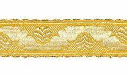 Imagen de Galón Cinta dorada H. cm 3 (1,2 inch) Tejido en hilo metálico alto contenido Oro para Vestiduras litúrgicas