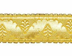 Picture of Galloon Gold ribbon H. cm 4 (1,6 inch) Metallic thread Fabric high content of Gold Trim Orphrey Banding for liturgical Vestments
