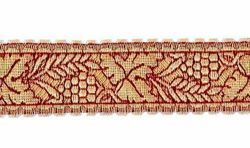 Picture of Galloon Gold and color Eears of Corn and Grapes H. cm 3 (1,2 inch) Metallic thread Fabric high content of Gold Bordeaux Trim Orphrey Banding for liturgical Vestments
