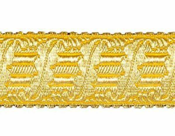 Imagen de Galón Arpa oro H. cm 4 (1,6 inch) Tejido en hilo metálico alto contenido Oro para Vestiduras litúrgicas