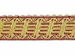 Picture of Galloon Gold and color Harp H. cm 2 (0,8 inch) Metallic thread Fabric high content of Gold Bordeaux Trim Orphrey Banding for liturgical Vestments