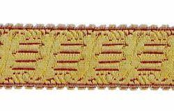 Imagen de Galón Arpa oro color H. cm 3,5 (1,4 inch) Tejido en hilo metálico alto contenido Oro Burdeos para Vestiduras litúrgicas