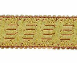 Picture of Galloon Gold and color Harp H. cm 4 (1,6 inch) Metallic thread Fabric high content of Gold Bordeaux Trim Orphrey Banding for liturgical Vestments