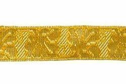 Immagine di Gallone motivo Quercia oro H. cm 2 (0,8 inch) filato metallico Alta Doratura Tessuto per Paramenti liturgici