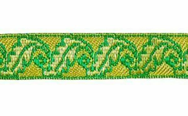 Imagen de Galón Roble oro color H. cm 2 (0,8 inch) Tejido en hilo metálico alto contenido Oro Burdeos Verde Oliva Morado Verde Bandera Blanco para Vestiduras litúrgicas