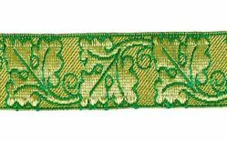 Picture of Galloon Gold Oak H. cm 4 (1,6 inch) Metallic thread Fabric high content of Gold Bordeaux Olive Green Violet Green Flag White Trim Orphrey Banding for liturgical Vestments