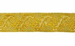 Picture of Galloon Gold Leaves and Flowers H. cm 2 (0,8 inch) Metallic thread Fabric high content of Gold Trim Orphrey Banding for liturgical Vestments