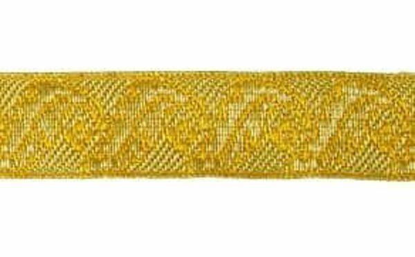 Imagen de Galón Hojas Flores oro H. cm 2 (0,8 inch) Tejido en hilo metálico alto contenido Oro para Vestiduras litúrgicas