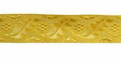 Imagen de Galón Hojas Flores oro H. cm 3 (1,2 inch) Tejido en hilo metálico alto contenido Oro para Vestiduras litúrgicas