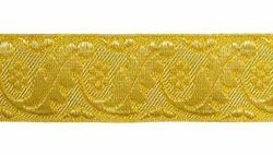 Picture of Galloon Gold Leaves and Flowers H. cm 4 (1,6 inch) Metallic thread Fabric high content of Gold Trim Orphrey Banding for liturgical Vestments