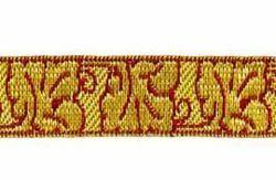 Imagen de Galón Hojas Flores oro color H. cm 2 (0,8 inch) Tejido en hilo metálico alto contenido Oro Burdeos Verde Oliva Morado Verde Bandera Blanco para Vestiduras litúrgicas