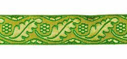 Picture of Galloon Gold and color Leaves and Flowers H. cm 3 (1,2 inch) Metallic thread Fabric high content of Gold Bordeaux Olive Green Violet Green Flag White Trim Orphrey Banding for liturgical Vestments