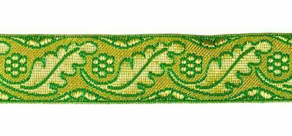 Imagen de Galón Hojas Flores oro color H. cm 3 (1,2 inch) Tejido en hilo metálico alto contenido Oro Burdeos Verde Oliva Morado Verde Bandera Blanco para Vestiduras litúrgicas