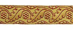 Imagen de Galón Hojas Flores oro color H. cm 4 (1,6 inch) Tejido en hilo metálico alto contenido Oro Burdeos Verde Oliva Morado Verde Bandera Blanco para Vestiduras litúrgicas