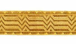 Imagen de Galón oro Bastones rotos H. cm 3 (1,2 inch) Tejido mezcla Algodón para Vestiduras litúrgicas