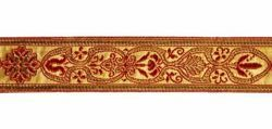 Picture of Galloon Trim Traditional Orphrey Banding gold Florence H. cm 3 (1,2 inch) Cotton blend Fabric Red Celestial Violet Yellow Green Flag White Trim Orphrey Banding for liturgical Vestments