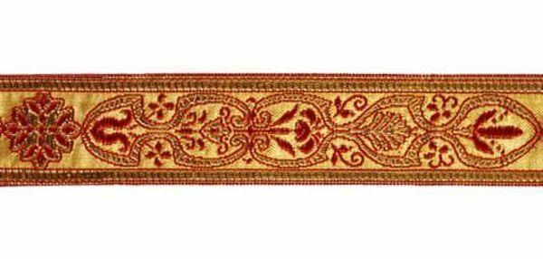 Immagine di Gallone tradizionale oro Firenze H. cm 3 (1,2 inch) misto Cotone Rosso Celeste Viola Giallo Zecchino Verde Bianco Tessuto per Paramenti liturgici