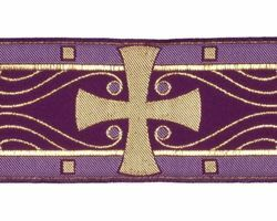Picture of Galloon Cross H. cm 8 (3,1 inch) Viscose and Polyester Fabric Red Celestial Olive Green Violet Yellow White Yellow Trim Orphrey Banding for liturgical Vestments