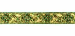 Picture of Galloon Trim Traditional Orphrey Banding gold Flower H. cm 1,5 (0,6 inch) Cotton blend Fabric Red Celestial Violet Yellow Green Flag White Trim Orphrey Banding for liturgical Vestments