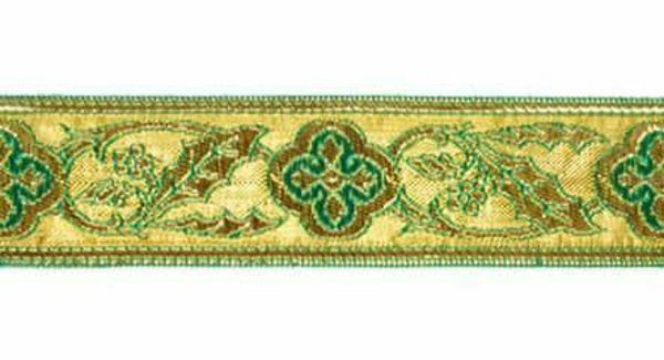 Picture of Galloon Trim Traditional Orphrey Banding gold Flower H. cm 3 (1,2 inch) Cotton blend Fabric Red Celestial Violet Yellow Green Flag White Trim Orphrey Banding for liturgical Vestments