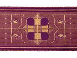 Immagine di Stolone vetrata H. cm 18 (7,1 inch) Poliestere Acetato Rosso Celeste Verde Viola Giallo Zecchino Nero Bianco Avorio/Bordeaux Tessuto per Paramenti liturgici