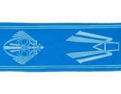 Immagine di Stolone Mariano argento H. cm 18 (7,1 inch) Lurex Celeste Tessuto per Paramenti liturgici