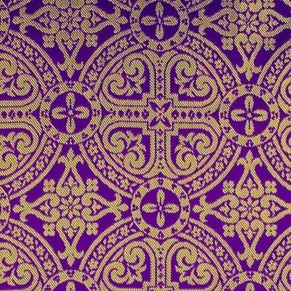 Immagine di Broderie bizantino Ricamo Cerchio H. cm 160 (63 inch) Acetato Poliestere Rosso Verde Giallo Oro Viola Bianco Tessuto per Paramenti liturgici