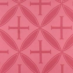 Picture of Damask Cross H. cm 160 (63 inch) Acetate Fabric Red Celestial Olive Green Violet Ivory White Pink for liturgical Vestments